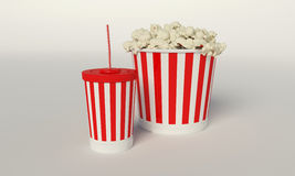 Popcorn disposable cup for beverages with Royalty Free Stock Photos