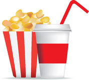 Popcorn and drink Stock Images