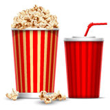 Popcorn and drink. Carton bowl full of popcorn and paper glass of drink Stock Photo