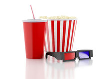 Popcorn, drink and 3d glasses. 3d illustration. Image of popcorn, drink and 3d glasses. cinematography concept. 3d image Stock Images