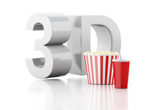 Popcorn, drink and 3d glasses. 3d illustration Stock Photography