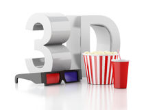 Popcorn, drink and 3d glasses. 3d illustration Royalty Free Stock Photos