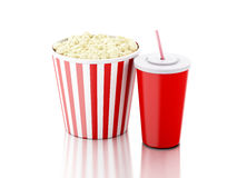 Popcorn and drink. 3d illustration. Image of popcorn, drink. cinematography concept. 3d image Stock Photography