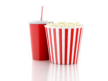 Popcorn and drink. 3d illustration. Image of popcorn, drink. cinematography concept. 3d image Stock Images