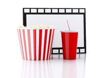 Popcorn, drink and film reel. 3d illustration Royalty Free Stock Images