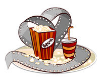 Popcorn, drink and film roll vector. Movie concept, popcorn drink and roll illustration vector Stock Images