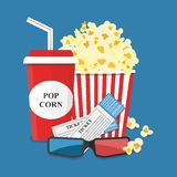 Popcorn and drink. Film strip border. Cinem. A movie night icon in flat design style. Bright background Royalty Free Stock Images