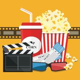 Vector illustration. Popcorn and drink. Film strip border. Cinem. Popcorn and drink. Film strip border. Cinema movie night icon in flat design style. Bright Royalty Free Stock Images