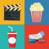 Popcorn and drink. Film strip border. Cinema. Movie night icon in flat design style. Bright background Stock Images