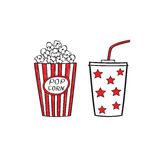 Popcorn and drink. Isolated on white background, vector illustration. Cinema icons doodle style Stock Photos