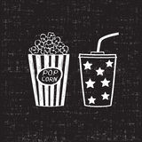 Popcorn and drink. Isolated on white background, vector illustration. Cinema icons doodle style Stock Image