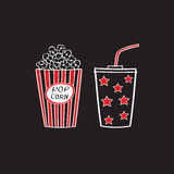 Popcorn and drink. Isolated on white background, vector illustration. Cinema icons doodle style Royalty Free Stock Images