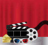 Popcorn, drink, Movie Film, 3d Glasses and movie ticket Stock Photos