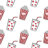 Popcorn and drink, seamless. Royalty Free Stock Photos
