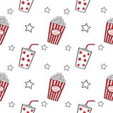 Popcorn and drink, seamless. Stock Image