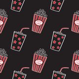 Popcorn and drink, seamless. Popcorn and drink doodle vector, seamless Stock Photo
