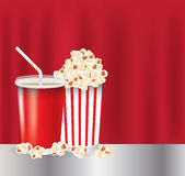 Popcorn and drink Royalty Free Stock Photos