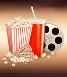 Popcorn and a drink and two tickets. Vector illustration Stock Photo