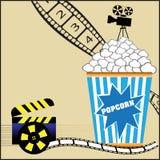 Popcorn e film Fotografia Stock