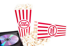 Popcorn e un film Immagine Stock