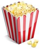 Popcorn in een gestreepte ton Stock Afbeeldingen