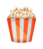 Popcorn in einer gestreiften Wanne Abbildung auf weißem Hintergrund Lizenzfreies Stockfoto