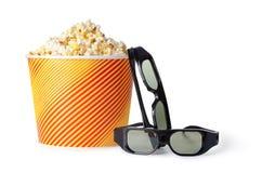 Popcorn en 3d glazen Royalty-vrije Stock Afbeelding
