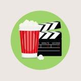 Popcorn en vlakke het ontwerpvector van de filmklep Stock Foto