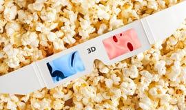 popcorn för exponeringsglas 3d Royaltyfri Fotografi