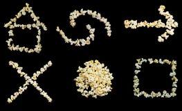 popcorn för knappsymbolsinternet Fotografering för Bildbyråer