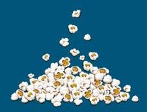 Popcorn fallen unten auf Haufenvektorillustration Stockbilder