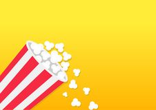 Popcorn falling down. Striped bucket box. Movie Cinema icon in flat design style. Pop corn popping. Left side template. Empty spac. E. Yellow gradient background Royalty Free Stock Images