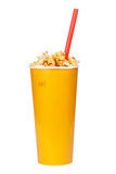 Popcorn in fast food drink cup Stock Images