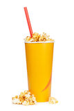 Popcorn in fast food drink cup Royalty Free Stock Photos