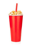 Popcorn in fast food drink cup Royalty Free Stock Images