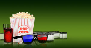 Popcorn and fast food drink. 3Drendering Royalty Free Stock Photo