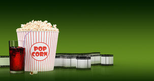 Popcorn and fast food drink. 3Drendering Royalty Free Stock Photography