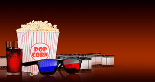 Popcorn and fast food drink. 3Drendering. Popcorn and fast food drink. On colored background. 3D rendering Stock Images