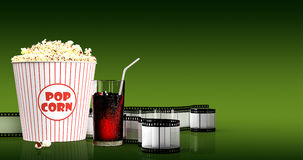 Popcorn and fast food drink. 3Drendering. Popcorn and fast food drink. On colored background. 3D rendering Royalty Free Stock Images