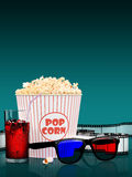 Popcorn and fast food drink. 3Drendering. Popcorn and fast food drink. On colored background. 3D rendering Royalty Free Stock Photos