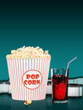 Popcorn and fast food drink. 3Drendering. Popcorn and fast food drink. On colored background. 3D rendering Stock Photos