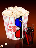 Popcorn and fast food drink. 3Drendering Royalty Free Stock Images