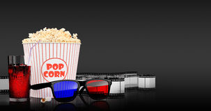 Popcorn and fast food drink. 3Drendering. Popcorn and fast food drink.  on grey background. 3D rendering Stock Image