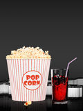 Popcorn and fast food drink. 3Drendering. Popcorn and fast food drink.  on grey background. 3D rendering Royalty Free Stock Image