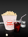 Popcorn and fast food drink. 3Drendering. Popcorn and fast food drink.  on grey background. 3D rendering Royalty Free Stock Photography