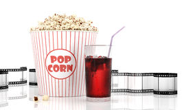 Popcorn and fast food drink. 3Drendering. Popcorn and fast food drink. Isolated on white background. 3D rendering Stock Image