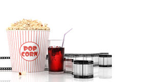 Popcorn and fast food drink. 3Drendering. Popcorn and fast food drink.  on white background. 3D rendering Stock Images