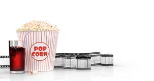 Popcorn and fast food drink. 3Drendering. Popcorn and fast food drink.  on white background. 3D rendering Royalty Free Stock Photo