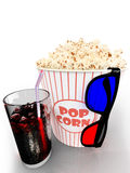 Popcorn and fast food drink. 3Drendering. Popcorn and fast food drink.  on white background. 3D rendering Royalty Free Stock Image