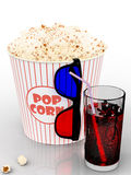 Popcorn and fast food drink. 3Drendering. Popcorn and fast food drink.  on white background. 3D rendering Stock Image